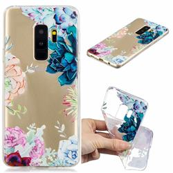 Gem Flower Clear Varnish Soft Phone Back Cover for Samsung Galaxy S9 Plus(S9+)