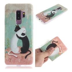 Black and White Cat IMD Soft TPU Cell Phone Back Cover for Samsung Galaxy S9 Plus(S9+)