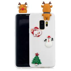 White Elk Christmas Xmax Soft 3D Silicone Case for Samsung Galaxy S9 Plus(S9+)