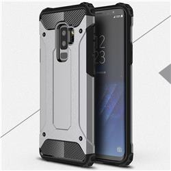 King Kong Armor Premium Shockproof Dual Layer Rugged Hard Cover for Samsung Galaxy S9 Plus(S9+) - Silver Grey