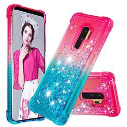 Rainbow Gradient Liquid Glitter Quicksand Sequins Phone Case for Samsung Galaxy S9 Plus(S9+) - Pink Blue