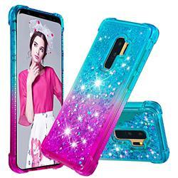 Rainbow Gradient Liquid Glitter Quicksand Sequins Phone Case for Samsung Galaxy S9 Plus(S9+) - Blue Purple