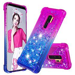 Rainbow Gradient Liquid Glitter Quicksand Sequins Phone Case for Samsung Galaxy S9 Plus(S9+) - Purple Blue