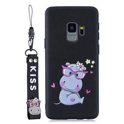 Black Flower Hippo Soft Kiss Candy Hand Strap Silicone Case for Samsung Galaxy S9 Plus(S9+)
