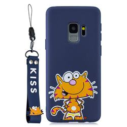 Blue Cute Cat Soft Kiss Candy Hand Strap Silicone Case for Samsung Galaxy S9 Plus(S9+)