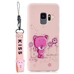 Pink Flower Bear Soft Kiss Candy Hand Strap Silicone Case for Samsung Galaxy S9 Plus(S9+)