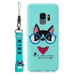 Green Glasses Dog Soft Kiss Candy Hand Strap Silicone Case for Samsung Galaxy S9 Plus(S9+)