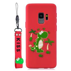 Red Dinosaur Soft Kiss Candy Hand Strap Silicone Case for Samsung Galaxy S9 Plus(S9+)
