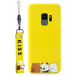 Yellow Bear Family Soft Kiss Candy Hand Strap Silicone Case for Samsung Galaxy S9 Plus(S9+)