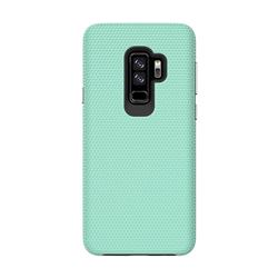 Triangle Texture Shockproof Hybrid Rugged Armor Defender Phone Case for Samsung Galaxy S9 Plus(S9+) - Mint Green