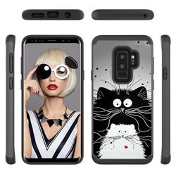 Black and White Cat Shock Absorbing Hybrid Defender Rugged Phone Case Cover for Samsung Galaxy S9 Plus(S9+)