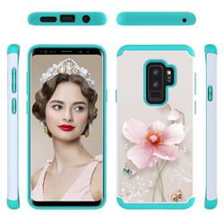 Pearl Flower Shock Absorbing Hybrid Defender Rugged Phone Case Cover for Samsung Galaxy S9 Plus(S9+)