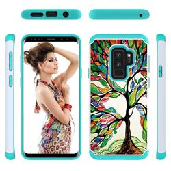 Multicolored Tree Shock Absorbing Hybrid Defender Rugged Phone Case Cover for Samsung Galaxy S9 Plus(S9+)