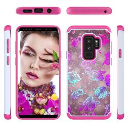 peony Flower Shock Absorbing Hybrid Defender Rugged Phone Case Cover for Samsung Galaxy S9 Plus(S9+)