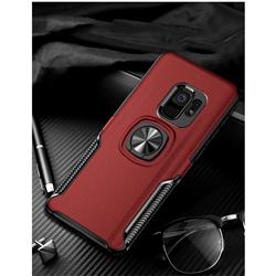 Knight Armor Anti Drop PC + Silicone Invisible Ring Holder Phone Cover for Samsung Galaxy S9 Plus(S9+) - Red