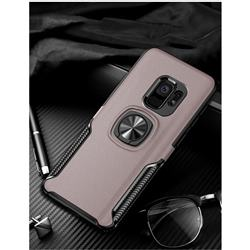 Knight Armor Anti Drop PC + Silicone Invisible Ring Holder Phone Cover for Samsung Galaxy S9 Plus(S9+) - Rose Gold