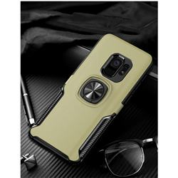 Knight Armor Anti Drop PC + Silicone Invisible Ring Holder Phone Cover for Samsung Galaxy S9 Plus(S9+) - Champagne
