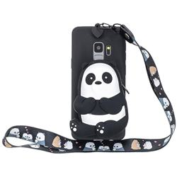 Cute Panda Neck Lanyard Zipper Wallet Silicone Case for Samsung Galaxy S9 Plus(S9+)