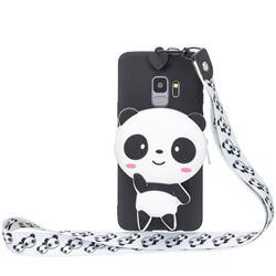 White Panda Neck Lanyard Zipper Wallet Silicone Case for Samsung Galaxy S9 Plus(S9+)
