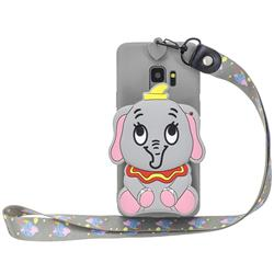 Gray Elephant Neck Lanyard Zipper Wallet Silicone Case for Samsung Galaxy S9 Plus(S9+)