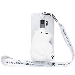 White Polar Bear Neck Lanyard Zipper Wallet Silicone Case for Samsung Galaxy S9 Plus(S9+)