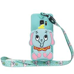 Blue Elephant Neck Lanyard Zipper Wallet Silicone Case for Samsung Galaxy S9 Plus(S9+)