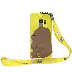 Yellow Bear Neck Lanyard Zipper Wallet Silicone Case for Samsung Galaxy S9 Plus(S9+)