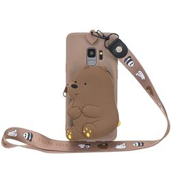 Brown Bear Neck Lanyard Zipper Wallet Silicone Case for Samsung Galaxy S9 Plus(S9+)