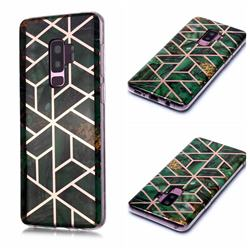 Green Rhombus Galvanized Rose Gold Marble Phone Back Cover for Samsung Galaxy S9 Plus(S9+)