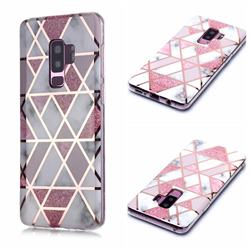 Pink Rhombus Galvanized Rose Gold Marble Phone Back Cover for Samsung Galaxy S9 Plus(S9+)