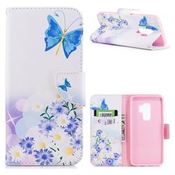 Butterflies Flowers Leather Wallet Case for Samsung Galaxy S9 Plus(S9+)