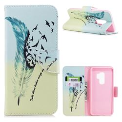 Feather Bird Leather Wallet Case for Samsung Galaxy S9 Plus(S9+)