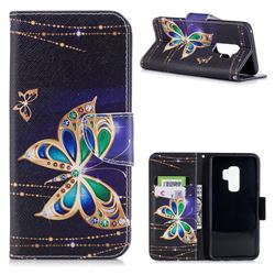 Golden Shining Butterfly Leather Wallet Case for Samsung Galaxy S9 Plus(S9+)