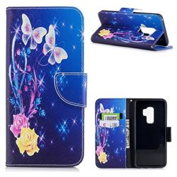 Yellow Flower Butterfly Leather Wallet Case for Samsung Galaxy S9 Plus(S9+)