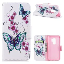 Peach Butterflies Leather Wallet Case for Samsung Galaxy S9 Plus(S9+)