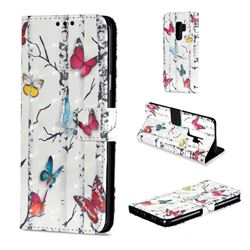 Colored Butterflies 3D Painted Leather Wallet Case for Samsung Galaxy S9 Plus(S9+)