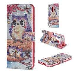 Purple Owl 3D Painted Leather Wallet Case for Samsung Galaxy S9 Plus(S9+)
