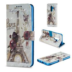 Flower Eiffel Tower 3D Painted Leather Wallet Case for Samsung Galaxy S9 Plus(S9+)