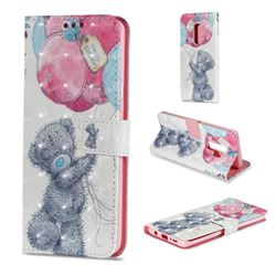 Gray Bear 3D Painted Leather Wallet Case for Samsung Galaxy S9 Plus(S9+)