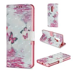 Purple Butterfly 3D Painted Leather Wallet Case for Samsung Galaxy S9 Plus(S9+)