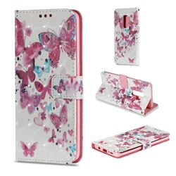 Heart Butterfly 3D Painted Leather Wallet Case for Samsung Galaxy S9 Plus(S9+)
