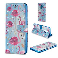 Foraging Flamingo 3D Painted Leather Wallet Case for Samsung Galaxy S9 Plus(S9+)