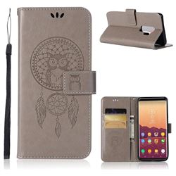 Intricate Embossing Owl Campanula Leather Wallet Case for Samsung Galaxy S9 Plus(S9+) - Grey