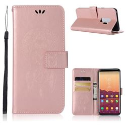 Intricate Embossing Owl Campanula Leather Wallet Case for Samsung Galaxy S9 Plus(S9+) - Rose Gold