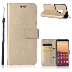 Intricate Embossing Owl Campanula Leather Wallet Case for Samsung Galaxy S9 Plus(S9+) - Champagne