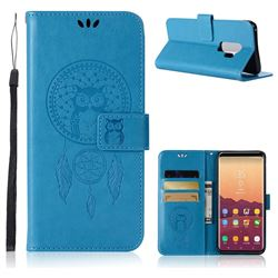 Intricate Embossing Owl Campanula Leather Wallet Case for Samsung Galaxy S9 Plus(S9+) - Blue