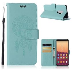Intricate Embossing Owl Campanula Leather Wallet Case for Samsung Galaxy S9 Plus(S9+) - Green
