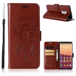 Intricate Embossing Owl Campanula Leather Wallet Case for Samsung Galaxy S9 Plus(S9+) - Brown