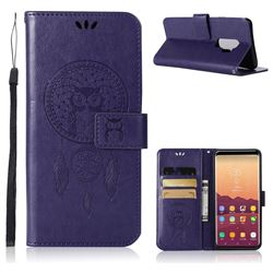 Intricate Embossing Owl Campanula Leather Wallet Case for Samsung Galaxy S9 Plus(S9+) - Purple