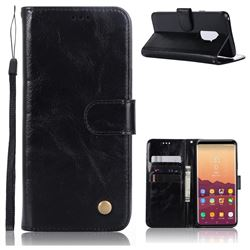 Luxury Retro Leather Wallet Case for Samsung Galaxy S9 Plus(S9+) - Black